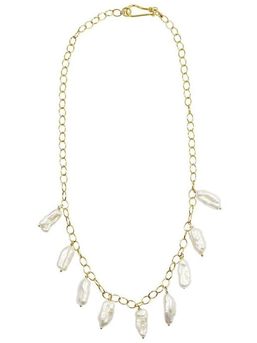 BIWA pearls on cable chain necklace on white