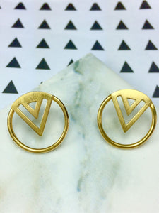 Enso Midi Studs in Gold Vermeil