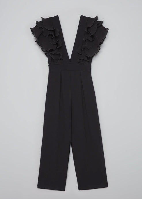 Low-neck Ruffled Jumpsuit