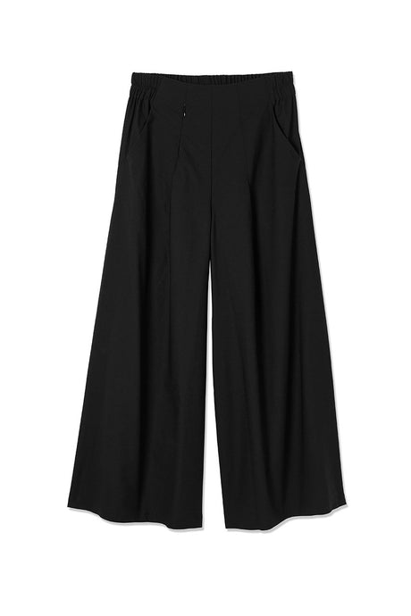 Asmuss Wide Leg Trousers. Made from sustainable fabric made from caster bean oil called EVO and styled in a way you would be happy to wear out to dinner out and functional enough to wear hiking