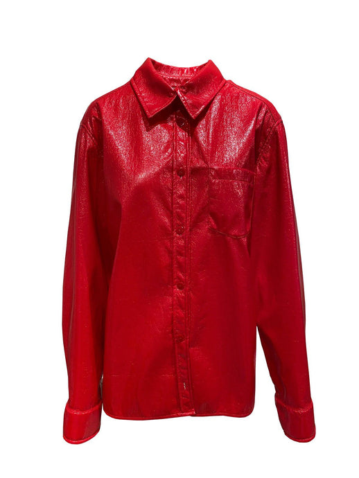 Le SLAP Fire Oversize red Vinyl latex shirt sample