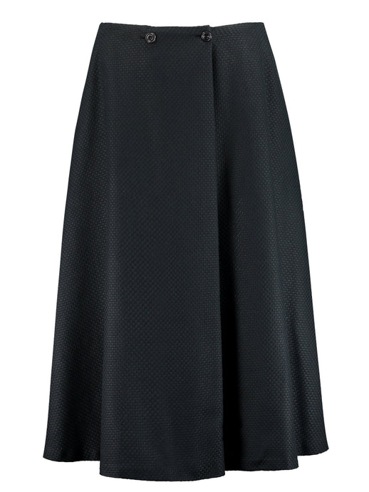 Imdividual organic cotton flared midi skirt black made in London UK