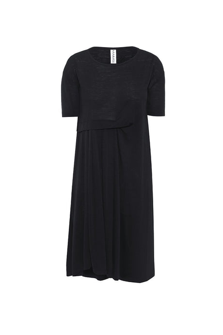 The Asmuss Asymmetric Pleat Dress in Black.  Look stylish while being functional and comfortable