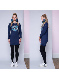Blue Lobster Embroidered Sweatshirt Dress - LDC