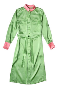 Anna silk dress - Mint bonbon