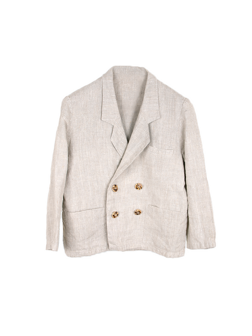 Ethically Made Double Breasted Beige Linen Suit Plain Or With Trim. Sustainable clothing brand Fanfare Label