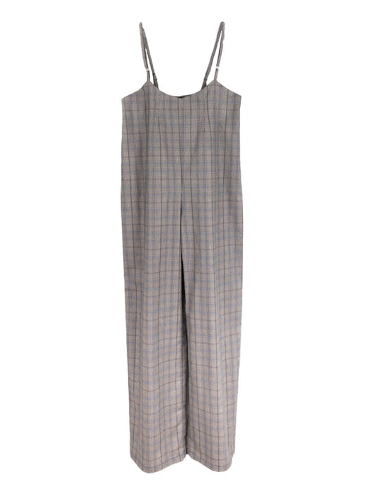 check Wide Leg Jumpsuit with adjustable straps, sustainably made by Fanfare Label