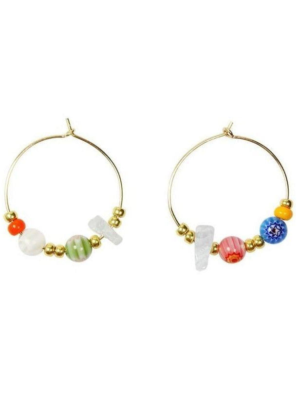 Hoop earrings on white with gold and colourful beads