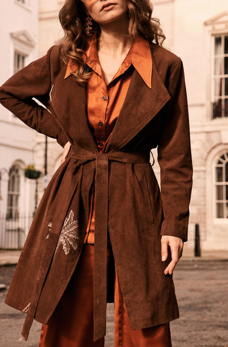 Brown suede coat with palm tree embroidery