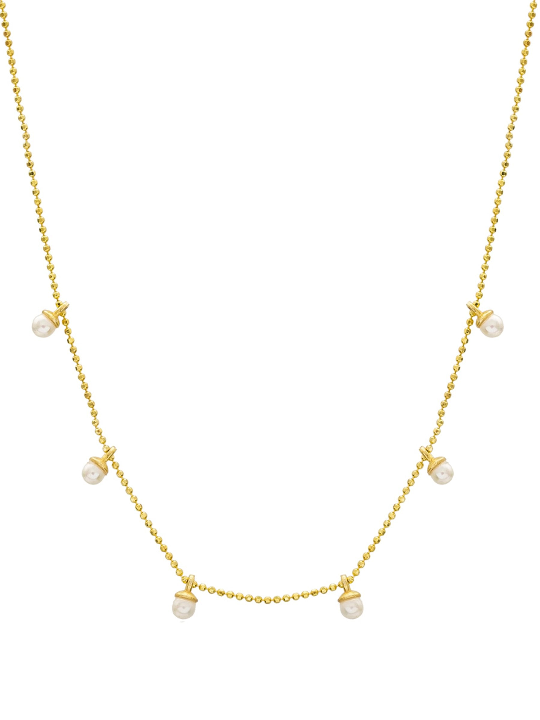 Venus Dainty Chain Necklace with tiny pearls