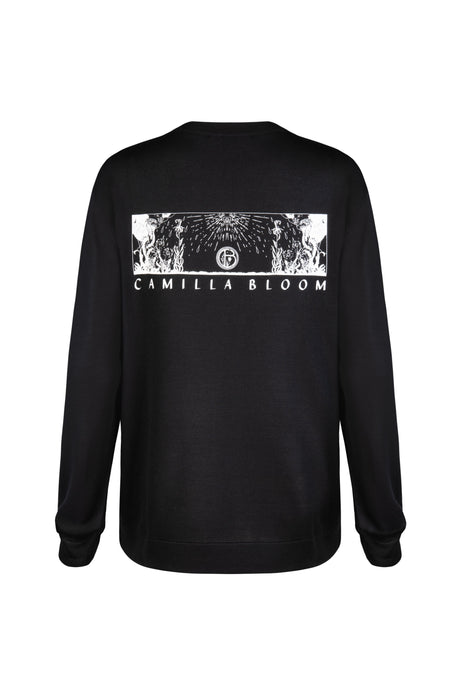 Long sleeve knitted crew neck top in black - back view