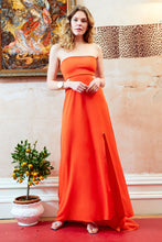Margot Bandeau Cut Out Maxi Dress with Train Orange