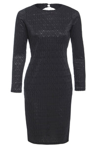 Morena Long Sleeve Lace Backless Mini Dress Black