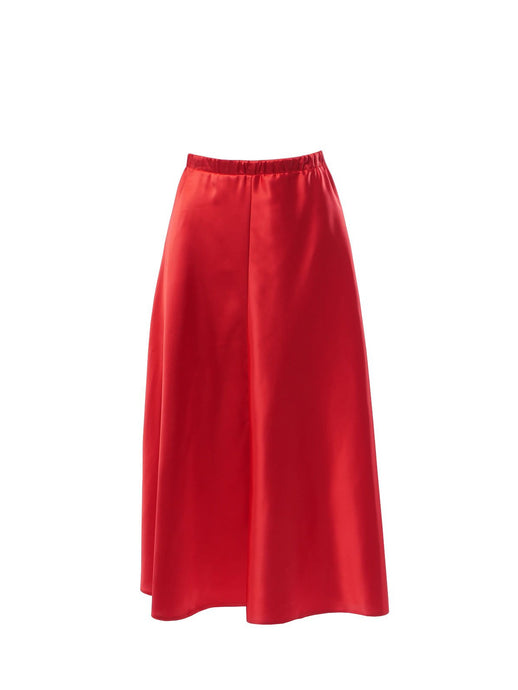 Nudist Deep Red Midi Slip Skirt