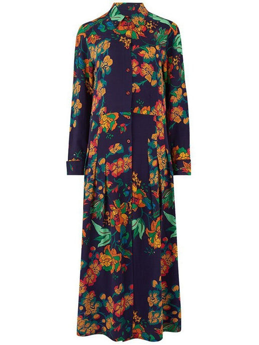 Navy Long-Sleeve floral shirt dress - LDC