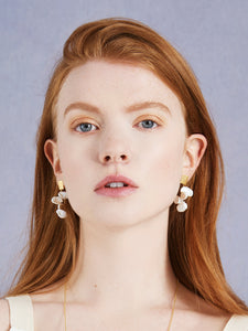 Petal Cascading Pearl Earrings In Gold