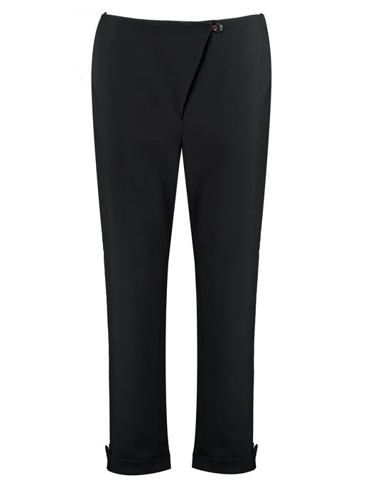 Imdividual organic wool cropped trousers black made in London UK
