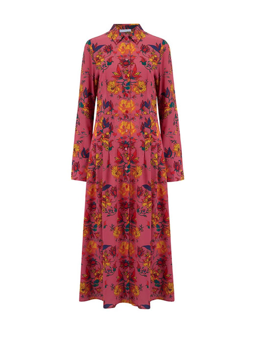 Sarah and Sorrentino Indian Flora Silk Dress - LDC