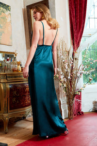 Rosie Twisted Straps Maxi Slip Dress Emerald