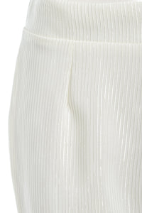 Callie High Waisted Stripe Flared Trousers White