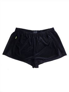 black velvet sleep short with neon green detail