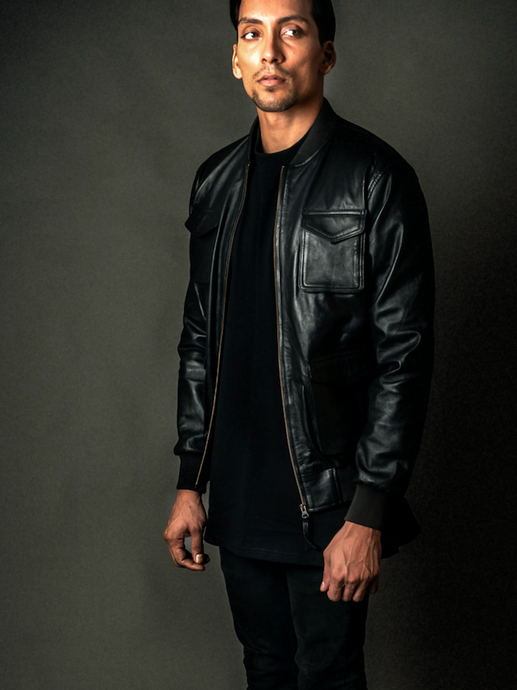 Men's Leather Bomber - Black