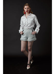 Chelsea Tang Tweed Short Blue