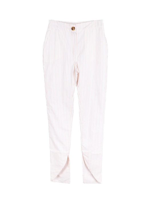 100% Organic Cotton Red & White Stripe Skinny Trousers with a cutaway ankle cuff. Created by Fanfare Label, contemporary sustainable womenswear brand