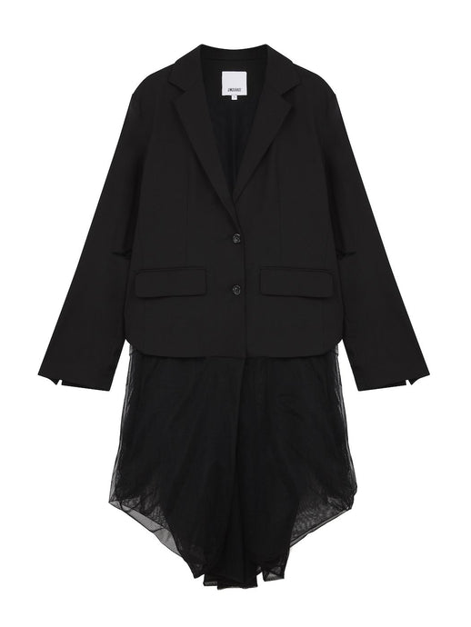 Oversized Blazer with Mesh Tail in Black