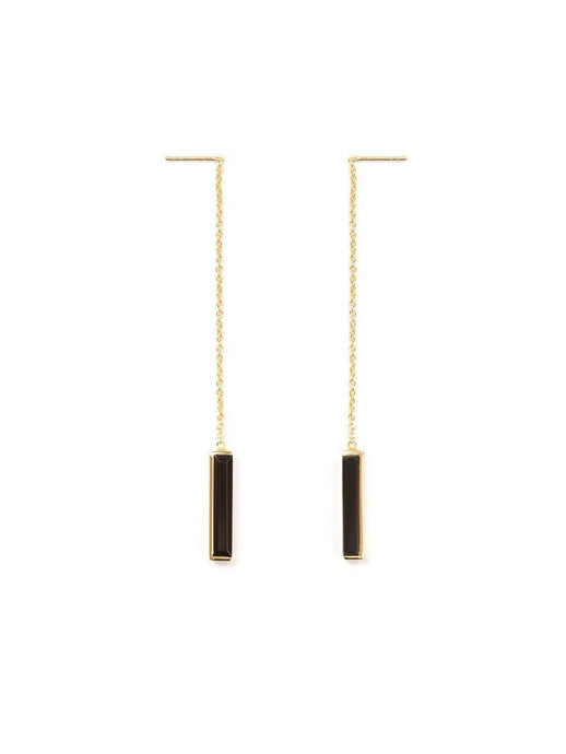 Urban Chain Earrings In Black Onyx
