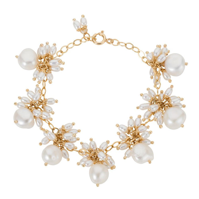 Venus white pearl dangle bracelet on 18k gold chain