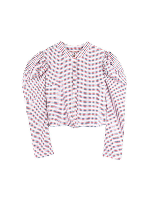 Organic Cotton volume shoulder top long sleeved in red & blue check fabric. Wooden buttons and made in the UK by sustainable clothing brand Fanfare Label