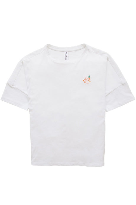 Asmuss Boxy T-shirt with Rose embroidery detail in organic cotton and recycled polyester lying flat