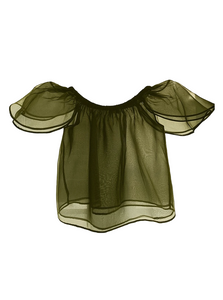 off shoulder olive green ashtiani silk organza top