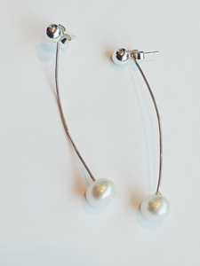 Curved White Pearl Ear Jacket