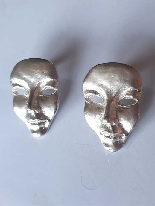 Face Earrings Sterling Silver