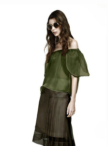 Double Layer Papillon Top in Green