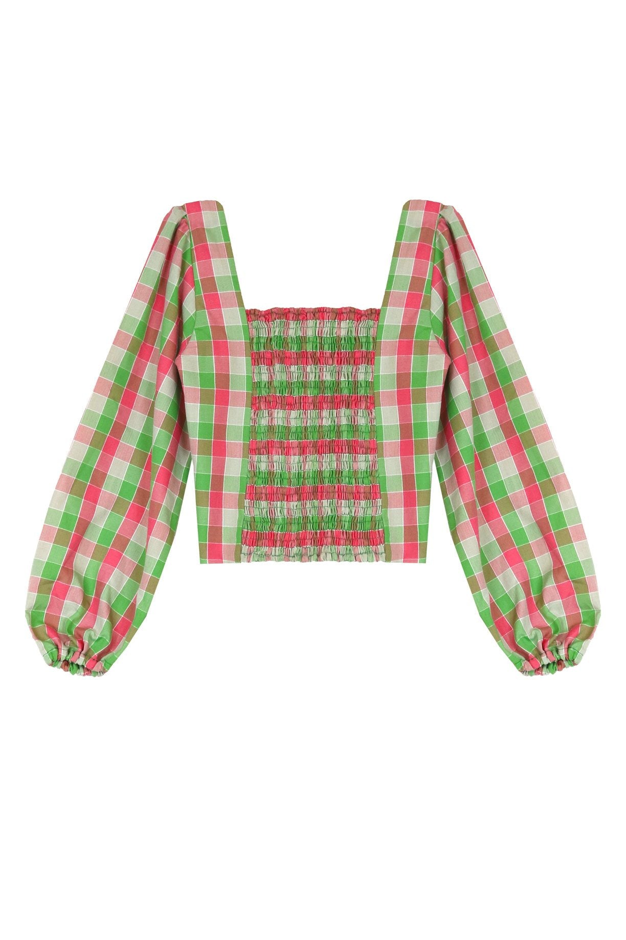 Pink and Green Check Smock Top