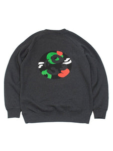 Cotton Raglan Sweatshirt - Camo Crest in Dark Heather