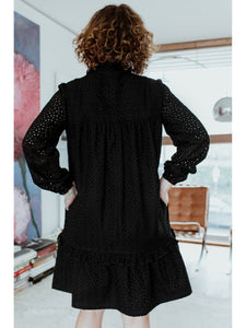Black Broderie Anglaise Prairie Dress (limited edition) CLOTHING Birdsong