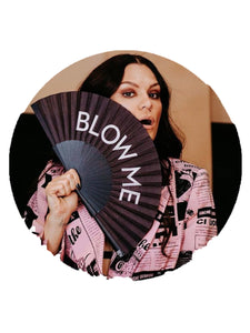 Jessie J wearing pink and black top and holding Khu Khu Blow Me hand-fan at Abbey Road Studios