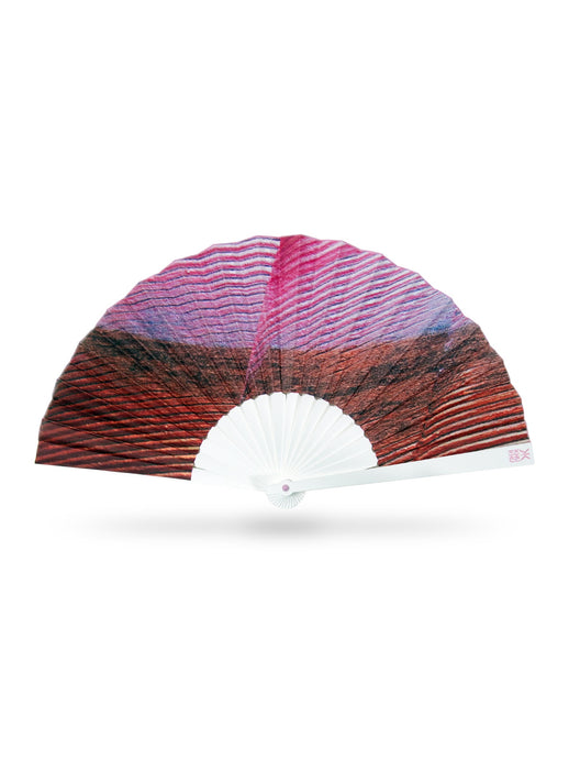 Khu Khu Cardinal Tropical Bird Wing Inspired Print Hand-Fan in pink and orange tones. Painted and then printed onto high grade cotton with swiss acrylic bespoke shape sticks. Pink rivet and rim. Engraved logo.