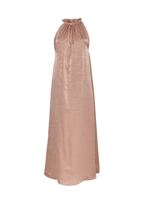Satin sleeveless Maxi dress in oyster by Cocoove