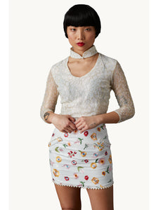 Derling Embroidered Skirt White