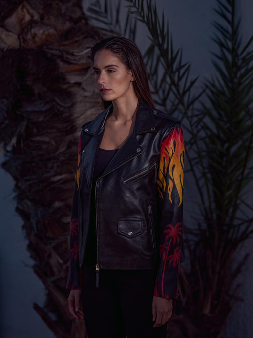 The Letter Women's Painted Flame Jacket in Black - LDC