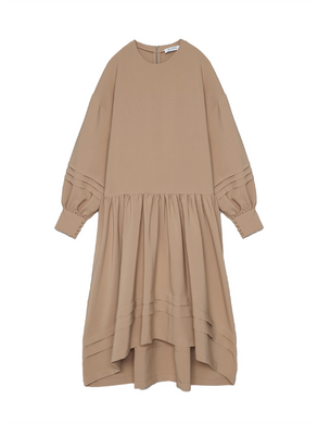 Beige Oversized Tuck Dress