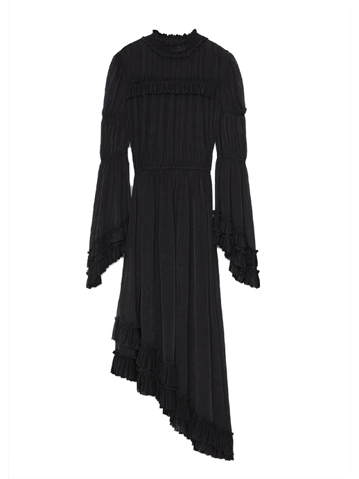 Black Ruffle Asymmetrical Dress
