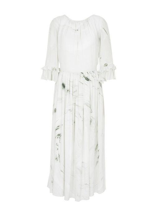 Edward Mongzar Silk Hand Marbled Gather Dress in White and Green