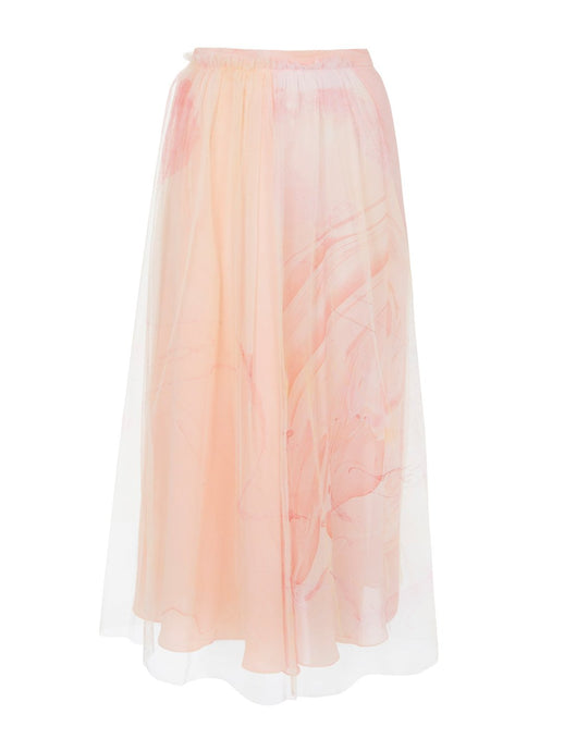Edward Mongzar Silk & Tulle Hand Marbled Semi Slit Skirt in Pink