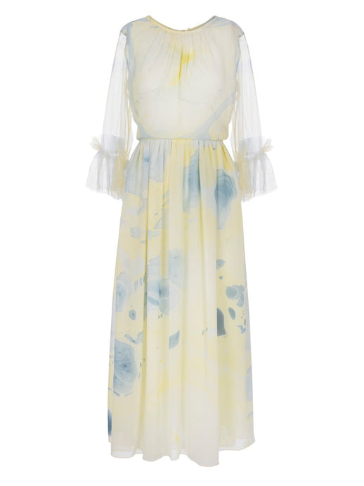 Edward Mongzar Silk Tulle Hand Marbled Gather Dress in Yellow & Blue